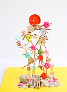 hello, Wonderful - BUTTON STICK TREE CRAFT FOR KIDS