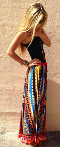 Gorgeous long colorful skirt with black top fashion / pinning for hair also - that's some good hair