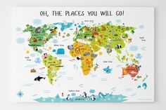 Personalized World Map Canvas for Kids | Nursery Decor | Playroom Art | Oh, The Places You Will Go