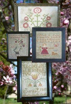 Primitive Folk Art Cross Stitch Pattern:  THE BIRDS & the BEES -- 4 Little Springtyme Samplers