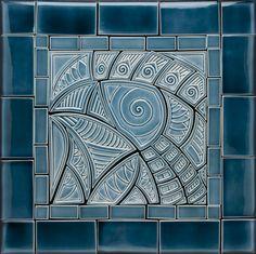 Hand Made Blue Bird CeramicTile Backsplash / Lynne Meade Porcelain