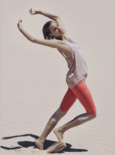 Olympia Activewear Orange and Nude mesh cropped leggings from Fashercise