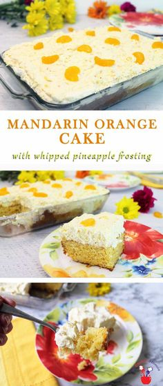 Mandarin Orange Cake is the perfect easy summer dessert! Sweet mandarin oranges delicately flavor a boxed cake mix & pineapple Cool Whip adds a light citrusy touch. via @2CookinMamas
