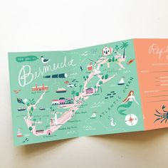 Custom Map Invitation - Bermuda Wedding - Any Event or Location - Nautical Wedding Invitations, Beautiful Wedding Invitations, Wedding Stationery, Destination Wedding Invitations, Art Carte, Custom Map, Map Design, Graphic Design, Flyer