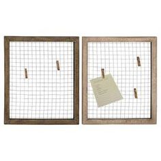 """This product is sold in sets of 2.Brimming with rustic appeal, this wood-framed wall decor features a meshed metal center, perfect for clipping notes or shopping lists.  Product: Set of 2 wall decorConstruction Material: Wood, metal and wire meshColor: BrownDimensions: 22"""" H x 19"""" W x 0.5"""" D eachNote: Clothespins not included"""