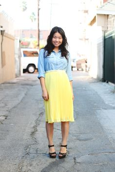 chambray and yellow | Modest Clothing | Modest Outfits | Modest Fashion Blog | Clothed Much