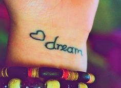 Dream wrist tattoo. I'd use a cloud or dreamcatcher instead of the heart. The heart seems out of place with the word.