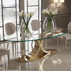 oval glass dining table designer carat gold oval glass dining set luxurious and made to measure by interiors glamorous showroom oval glass dining table uk Oval Glass Dining Table, Luxury Dining Tables, Elegant Dining Room, Luxury Dining Room, Dining Table Design, Modern Dining Table, Glass Tables, Luxury Furniture, Furniture Design