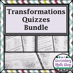 This is a set of 4 Transformations Quizzes on Reflections, Translations, Rotations and Dilations. Reflections - Coordinate Plane and Similarity Reflections - Coordinate Plane and Similarity. Rotational Symmetry, Teaching Geometry, Bell Work, Secondary Math, Graphic Organizers, Teacher Newsletter, Quizzes, Vocabulary, Plane