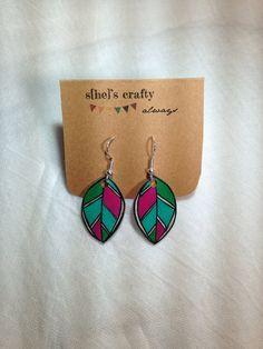 Feather Earrings Shrink Plastic by shescraftyalways on Etsy