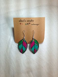 Feather Earrings Shrink Plastic by shescraftyalways on Etsy