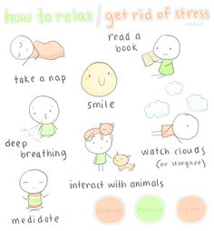 8 ways to de-stress (almost all my favorite things are listed here. missing are 9) snuggle, 10) swing in a hammock or on a swing, 11) pigeon pose, cow face pose, fire logs pose. BLESSED BE!