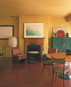 Home of Francesco Clemente : Furniture includes tables by Isamu Noguchi and wooden chairs by Frank Lloyd Wright