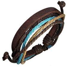 Men's Brown Leather & Multi Colour Cord Surfer Style Bracelet #urbanstudent