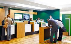 Lloyds brief to us was to modernise their 3000 high street branches with a fresh and contemporary look. Our 'Britishness' retail bank design. Uk Retail, Retail Bank, Bank Interior Design, Corporate Design, Architecture, Desk Office, Office Spaces, Leaf Clover, Houses