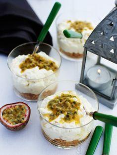 Cheesecake med passionsfrugt - Kage/dessert - Opskrifter - Mad og Bolig