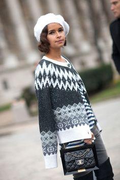 Miroslava Duma in Paris via @Harper's Bazaar   #parishautecouture #streetstyle