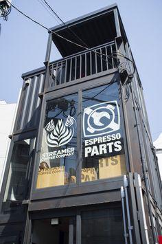 The narrow Streamers coffee company building