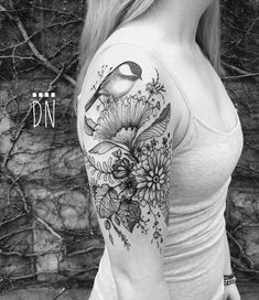 """1,648 Likes, 14 Comments - solo tattoo studio and gallery (@dinonemec) on Instagram: """"chickadee on wild flowers, all freehand. Thank you Jillian! Not bad for a first timer... #pedro…"""""""
