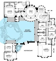 images about Floor plans on Pinterest   Grey water system    Courtyard House Plans With Pool   Plan Southwest  Mediterranean  Spanish House Plans Home  Flip the master bdrm and bath to have a fire place