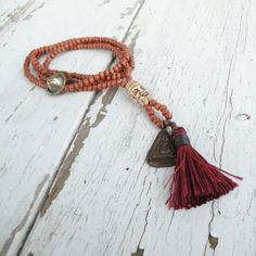 Long Buddha Tassel Necklace, Light Brown Wood Beads, Buddha Amulet, Carved Bone