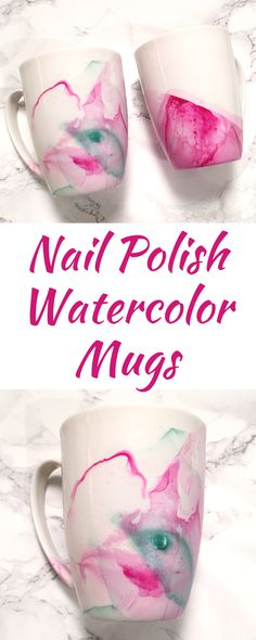 DIY Watercolor Mug - Working Mom Magic - Vánoce - Create beautiful, original mugs in just MINUTES! Use any regular nail polish. The possibilities are - Kids Nail Polish, Nail Polish Crafts, Nail Polish Painting, Mug Crafts, Easy Diy Crafts, Sharpie Crafts, Creative Crafts, Creative Ideas, Diy Christmas Mugs