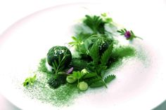 My mint and matcha ice cream with herbs and mini flowers and mint creme Anglais