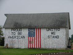 flag on barn side