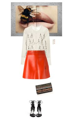 """""""Untitled #1589"""" by wizmurphy ❤ liked on Polyvore featuring Andy Warhol, By Malene Birger, MSGM, Stuart Weitzman, Alice + Olivia, Lizzie Fortunato and leatherskirt"""