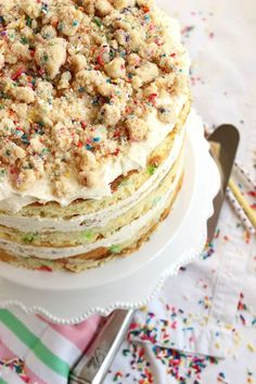 The most epic birthday cake ever, this copycat version of the famous MilkBar Birthday Cake is made easier with a secret ingredient. | @Suburbansoapbox: