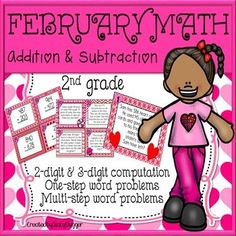 Cute Valentine's Day themed addition and subtraction practice!