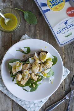 Tostada geitenkaas, spinazie en kip 03