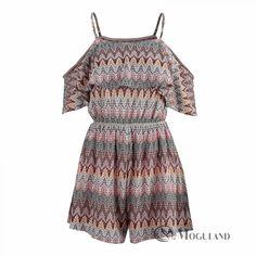 Ladies multi-colour crochet double layer cold shoulder playsuit for wholesale - playsuits | Moguland.com - Wholesale Women's Clothing
