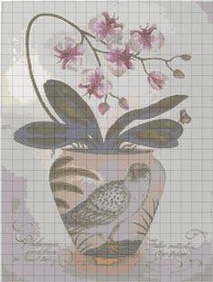 ru / Фото - ***** - celitachart for vase of flowers Cross Stitch Bird, Cross Stitch Alphabet, Cross Stitch Flowers, Cross Stitch Charts, Cross Stitch Designs, Cross Stitching, Cross Stitch Patterns, Crochet Patterns, Flower Vases