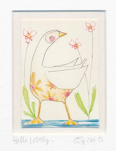 ORIGINAL watercolor of a duck ACEO bird art ATC whimsical by corid, $50.00