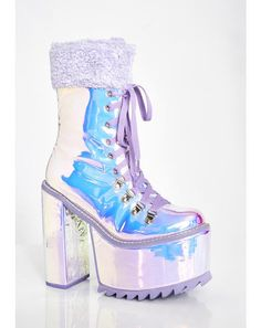 Free, fast shipping on New Coven Platform Boots at Dolls Kill, an online boutique for punk & rock fashion. Shop Current Mood clothing, lace up leggings, & shoes here. Pretty Shoes, Cute Shoes, Me Too Shoes, Women's Shoes, Edm Outfits, Cute Outfits, Holographic Fashion, Rave Accessories, Kawaii Shoes