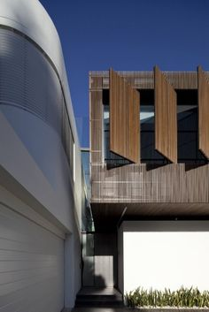 Architecture Design, Facade Idea Blue Sky White Wall And Building Wooden Box Idea Architecture Exterior Details: Terrific Two in a Row : Ope. Beautiful Architecture, Architecture Details, Home Decoration Images, Modern Properties, Timber Cladding, Facade Design, White Houses, Modern House Design, Wood Design