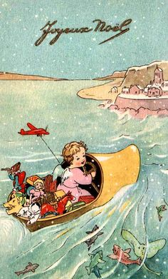 A charming shoe-boat filled with gifts graces this vintage Christmas postcard.