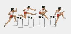 Sequence of illustrations of male athlete jumping over hurdles