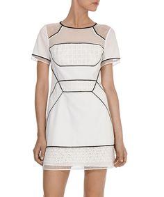 White+graphic+lace+T-shirt+dress+by+Karen+Millen+on+secretsales.com