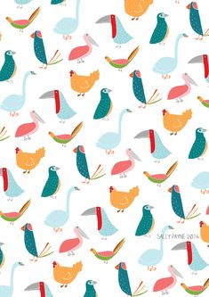 I love how birds come in all shapes and sizes, sketched a real mix from swans to pelicans to chickens and then put them all together to make a little pattern..