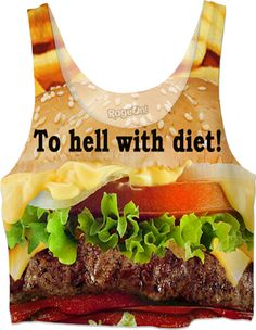 "Custom Crop Top: ""To hell with diet!"" – You don't count calories, since it is proven, and you know it: none of all these promising diets truly work! 83% of all people gained back more weight than they initially lost through their diet! Hamburger, T-Shirt, Sweatshirt, Duvet cover, shower curtain, couch pillow, Hoodie, Yoga Pants, Handy, Joggers, Leggings, Phone Case, Beach Towel, Tank Top, Crop Top, pillowcase, Onesie, fleece blanket, dress, Bandana, Christmas, Valentine's day,"