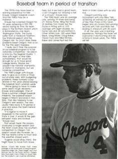 Recap of 1980 Oregon baseball. From the 1980 Oregana (University of Oregon yearbook). www.CampusAttic.com