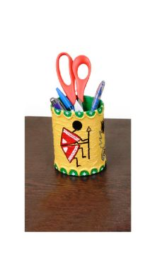 Yellow Handmade Pen Holder Warli Art Tribal Painting by ArtMela, $16.00