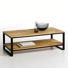 Lage tafel, dubbel tafelblad, massief notelaar afgewerkt met staal, Hiba