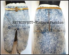 80's 90's #vintage CHEROKEE acid washed denim skirt by #RVF $36.99
