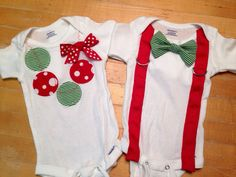 Twin Christmas onesies, twin shirts, boy girl twin onesies, Christmas onesies, bowtie onesies, necklace onesie, on Etsy, $38.00