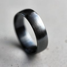 Mens Band Brushed 6mm Men S Or Women Low Dome Uni Oxidized Argentium Sterling Silver Wide Ring Recycled Metal Made In Your Size