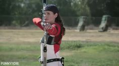 Geena Davis is Mensa member, was a finalist for the Olympic archery team, speaks Swedish (just because she wanted to learn), and has always stood tall at 6'. Check out her still-amazing arrow-shooting skills and general badassery, where she shoots down the common, crummy attitudes about women's aging in media.
