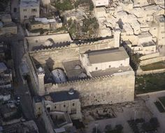 Tomb of the patriarchs, Abraham, Isaac, Jacob, aerial view, Al-Haram Al-Khalil, Hebron, Israel